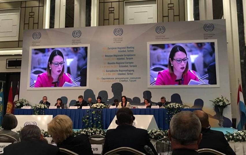 Viceministrė Eglė Radišauskienė TDO Europos regioniniame susitikime iškėlė socialinio dialogo svarbą